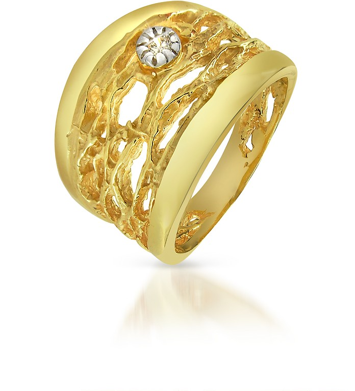 Diamond Open-work 18K Yellow Gold Band Ring - Orlando Orlandini