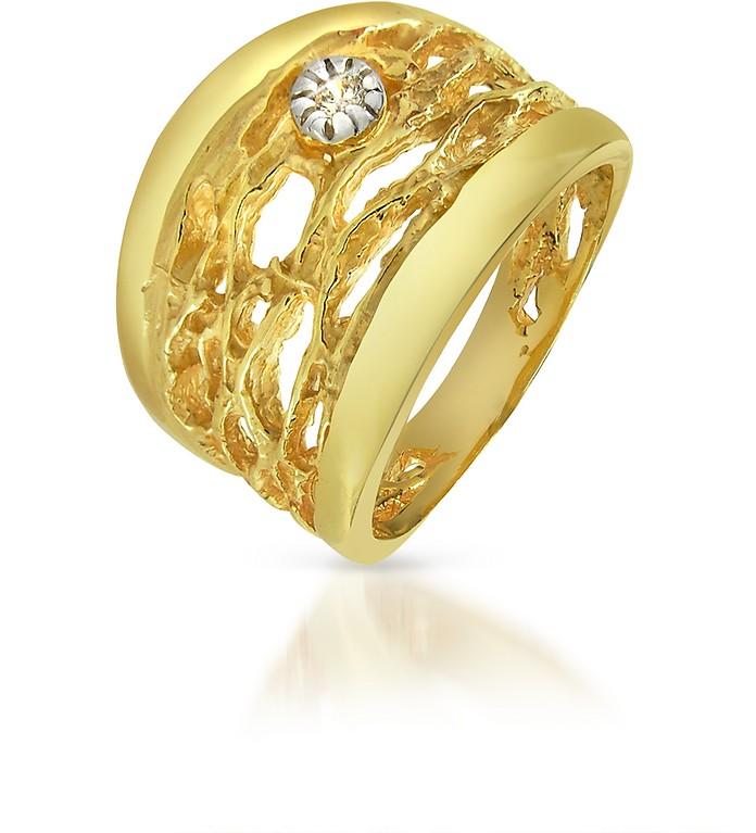 钻石开口18K黄金环戒指 - Orlando Orlandini 奥兰蒂尼