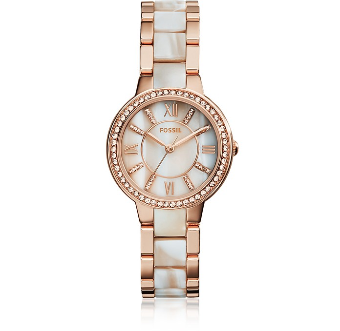 Virginia Rose Tone Horn Acetate Women's Watch - Fossil