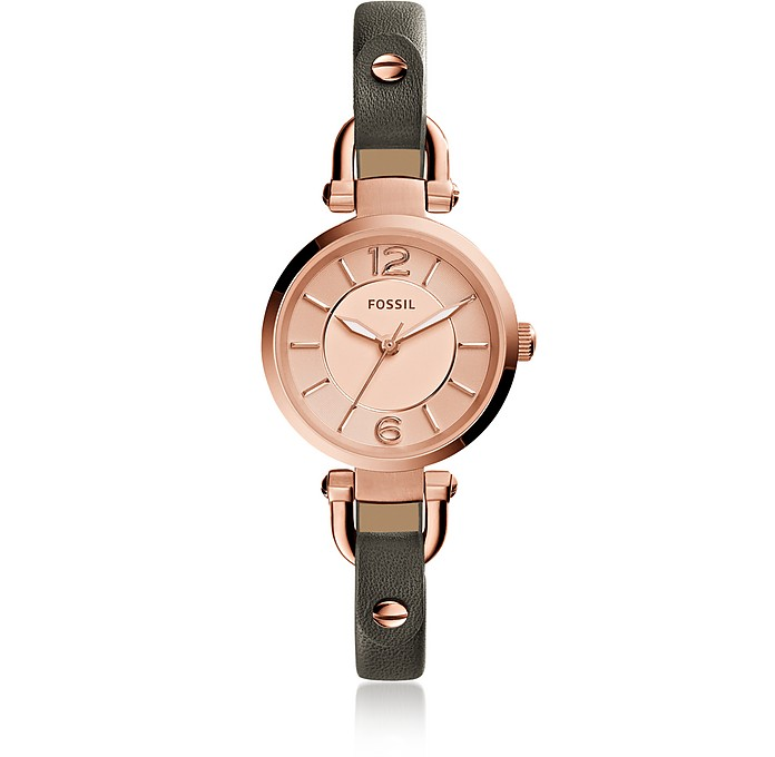 Georgia Mini Gray Leather Women's Watch - Fossil