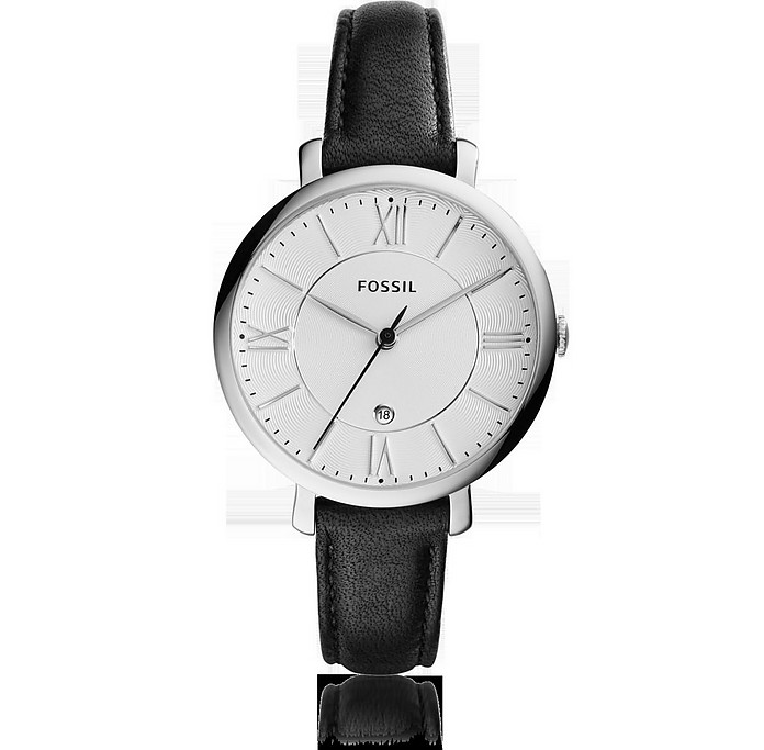 Jacqueline Black Leather Stainless Steel Women's Watch - Fossil
