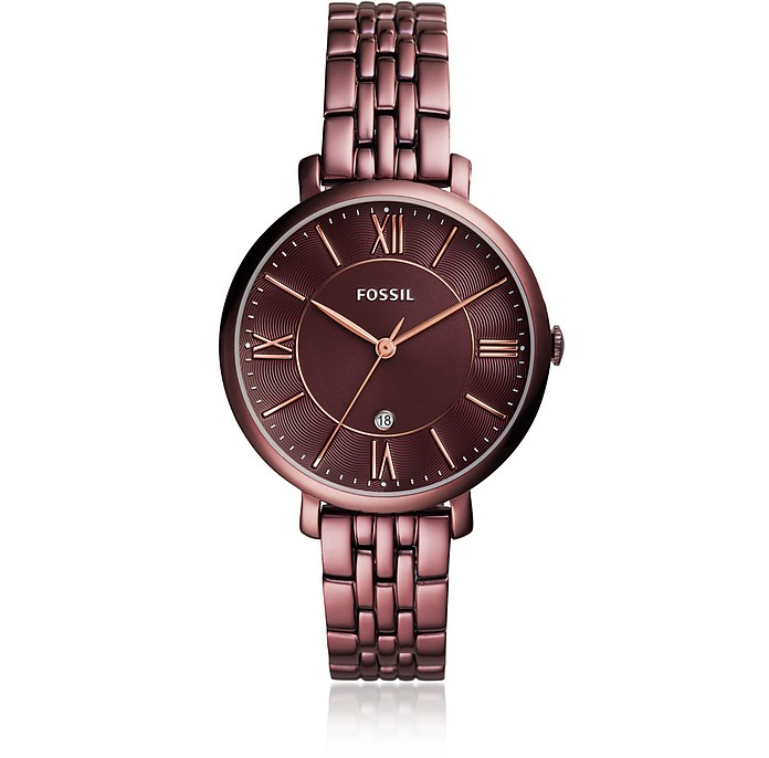 Jacqueline Three-Hand Date Wine Stainless Steel Women's Watch - Fossil