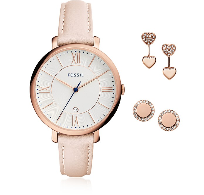 Jacqueline Blush Women's Watch and Jewelry Box Set - Fossil