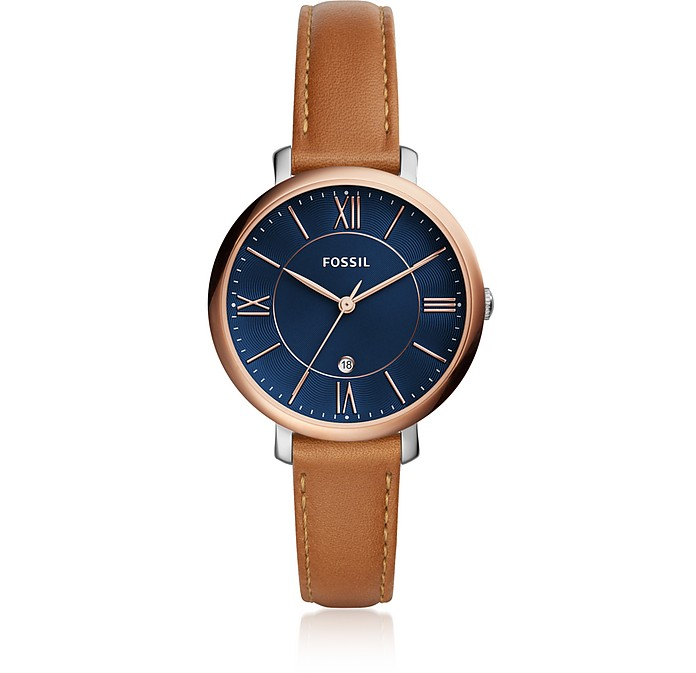 Jacqueline Three-Hand Date Luggage Women's Watch - Fossil
