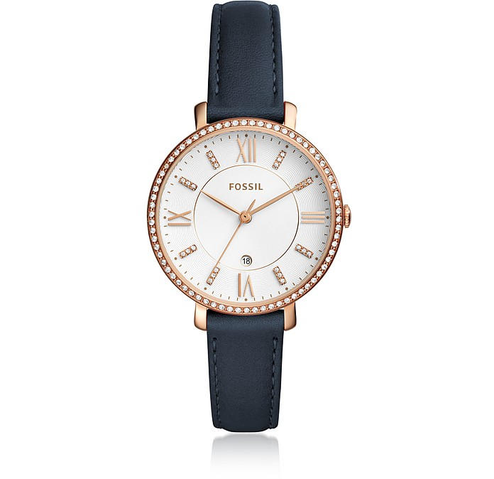 Jacqueline Three-Hand Crystal Navy Leather Watch - Fossil