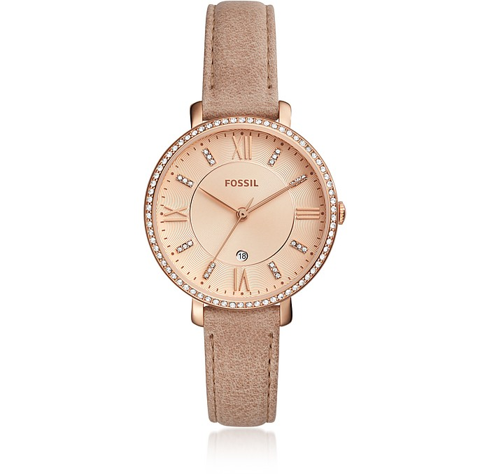 Jacqueline Three-Hand Crystal Sand Leather Women's Watch - Fossil