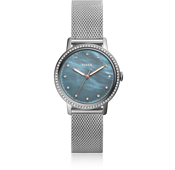 Neely Three Hand Stainless Steel Crystal Women's Watch - Fossil