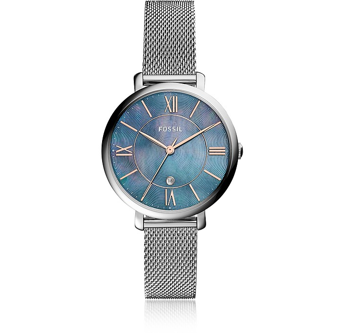 Jacqueline Three Hand Date Mesh Stainless Steel Women's Watch - Fossil