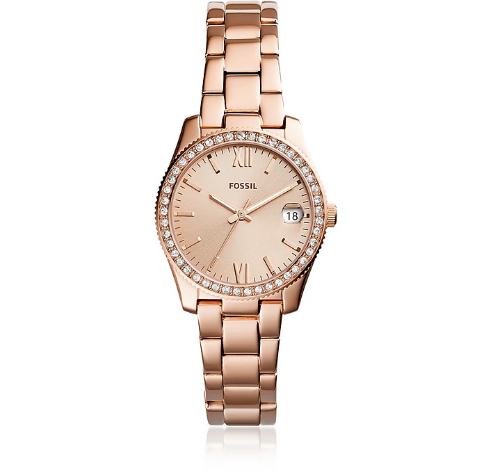 Scarlette Three-Hand Date Rose Tone Women's Watch - Fossil