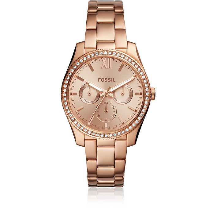 Scarlette Multifunction Stainless Rose Tone Steel Women's Watch - Fossil