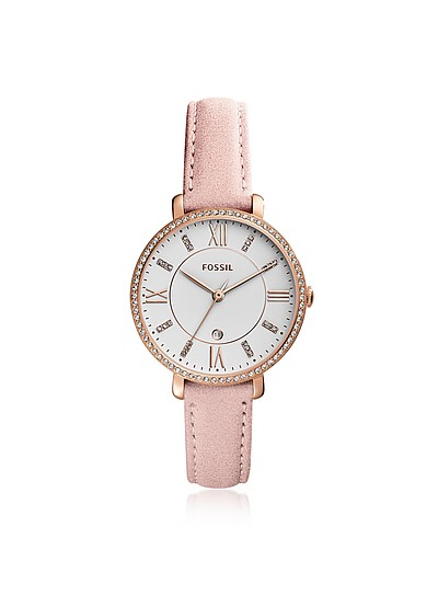 Jacqueline Three-Hand Crystal Blush Leather Watch - Fossil