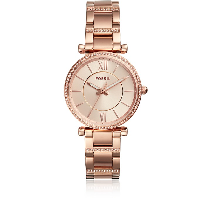 Carlie Three-Hand Rose Gold-Tone Stainless Steel Watch - Fossil