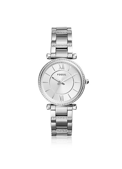 Carlie Three-Hand Stainless Steel Watch - Fossil