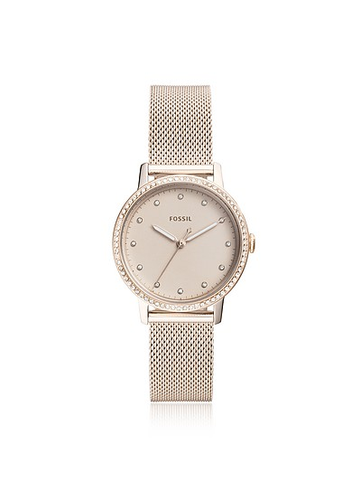 Neely Three-Hand Pastel Pink Stainless Steel Watch - Fossil