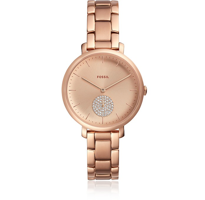 1e7190238fb Jacqueline Three Hand Rose Gold Tone Stainless Steel Women s Watch - Fossil