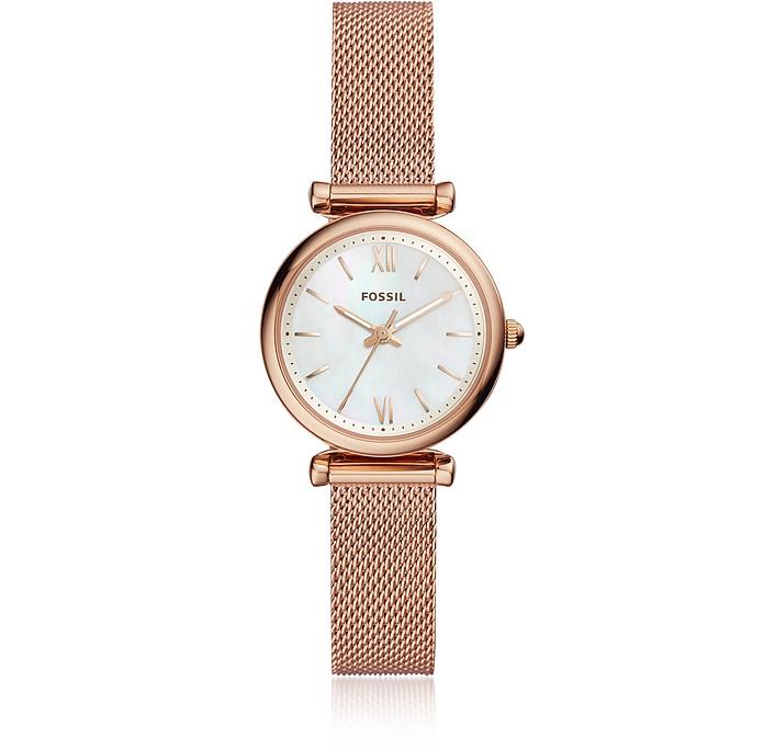 Carlie Mini Three Hand Rose Gold Tone Mesh Women's Watch - Fossil