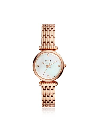 Carlie Mini Three Hand Rose Tone Women's Watch - Fossil