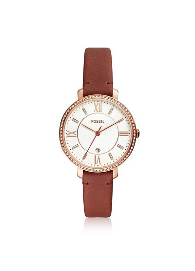 Jacqueline Three-Hand Crystal Terracotta Leather Watch - Fossil