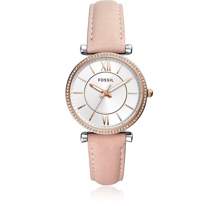 Carlie Three Hand Rose Leather Women's Watch - Fossil