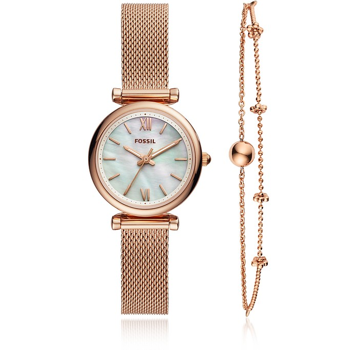 Carlie Mini Three Hand Mesh Women's Watch Set - Fossil