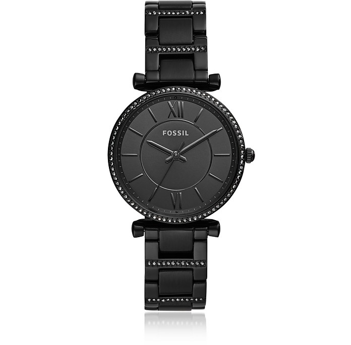Carlie Three-Hand Black Stainless Steel Watch - Fossil