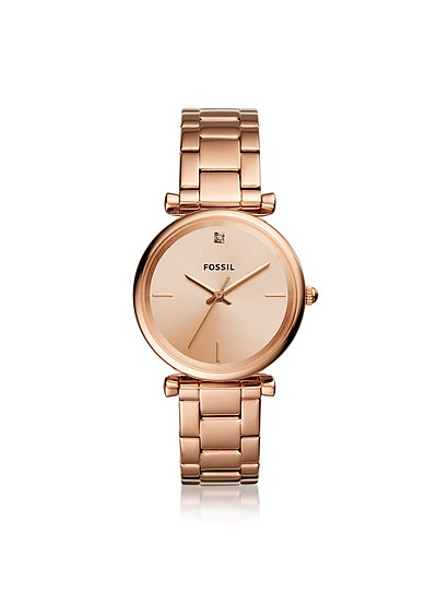 Carlie Carbon Series Three Hand Rose Gold Tone Stainless Steel Watch - Fossil