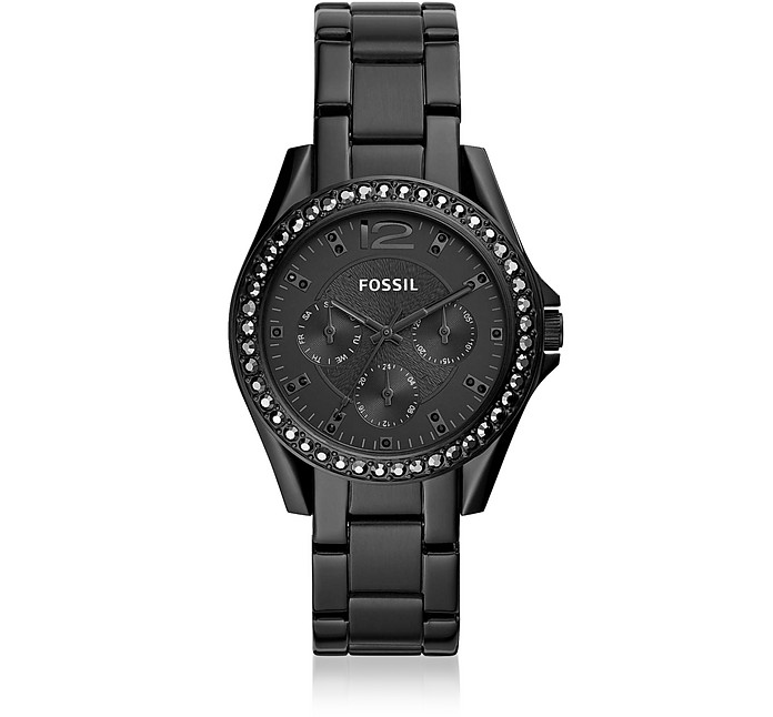 Riley Multifunction Black Stainless Steel Watch - Fossil