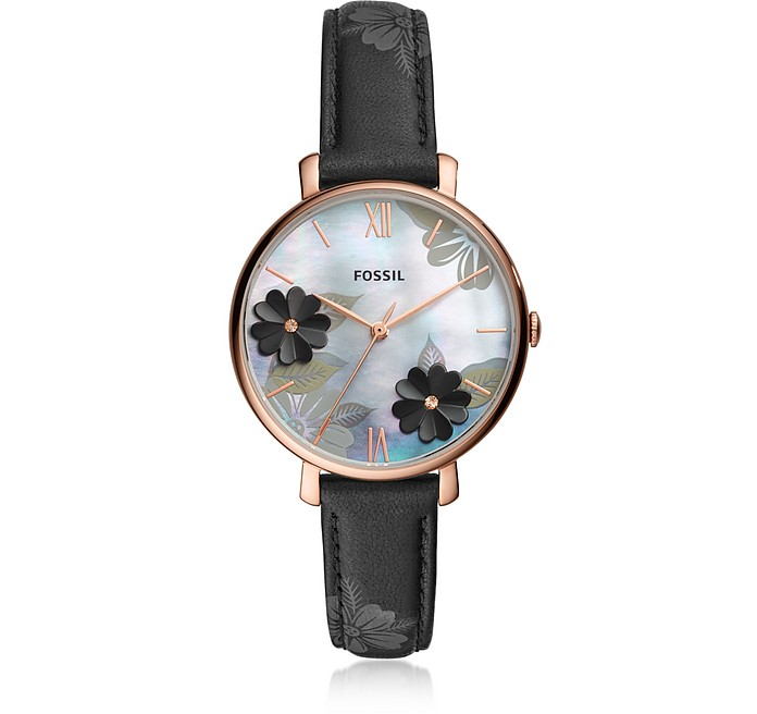 Jacqueline Three Hand Floral Black Leather Watch - Fossil