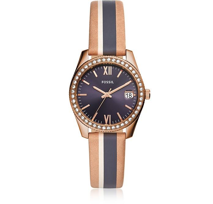 Scarlette Mini Three-Hand Date Sand Stripe Leather Watch - Fossil