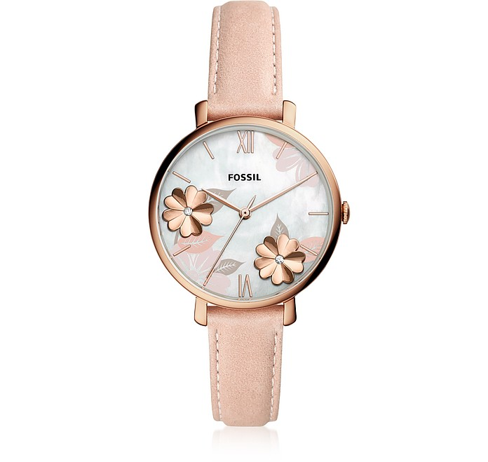 Jacqueline Three Hand Floral Blush Leather Watch - Fossil