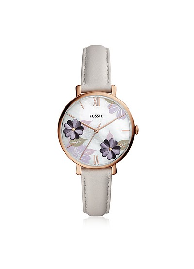Jacqueline Three Hand Floral Gray Leather Watch - Fossil