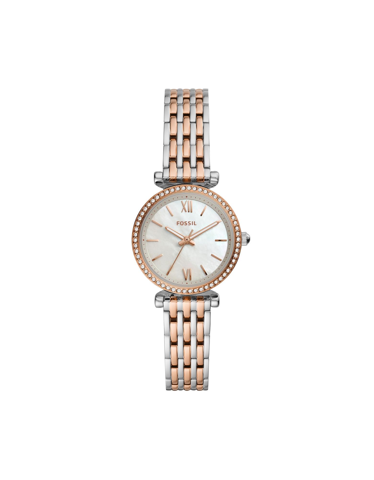 Fossil Carlie Mini Stainless Steel Women's Watch In Silver