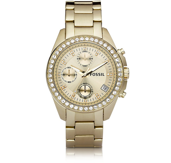 Decker Ladies Chronograph Gold Tone Stainless Steel Watch  - Fossil