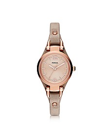 Georgia Mini Three Hand Sand Leather Women's Watch - Fossil