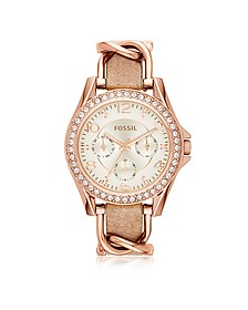 Riley Rose Gold Tone Stainless Steel Case and Nude Leather Strap Women's Watch - Fossil