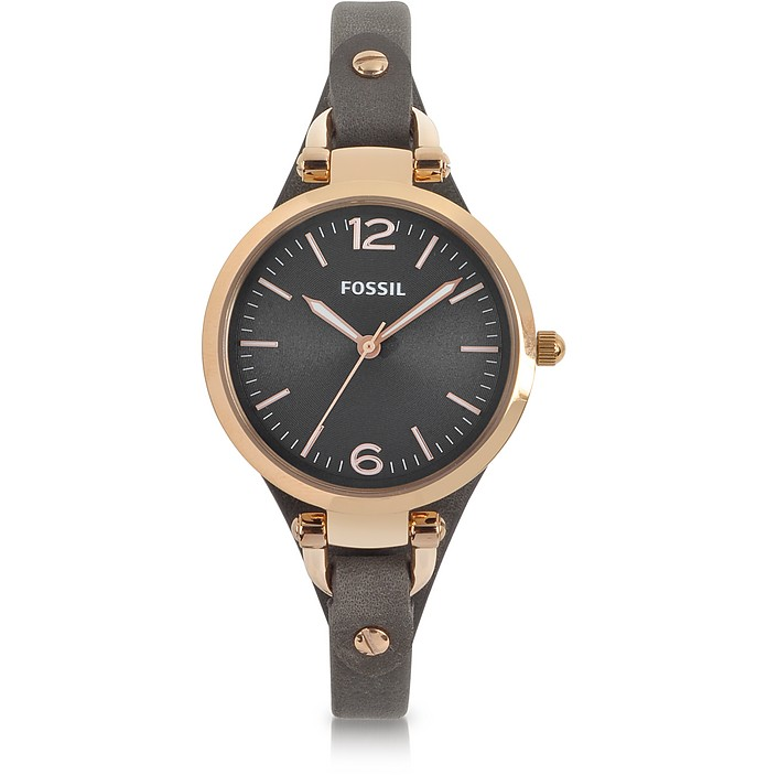 Georgia Three Hand Smoke and Rose Leather Watch - Fossil