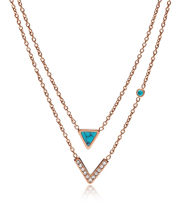 Turquoise Double Strand Convertible Women's Necklace - Fossil