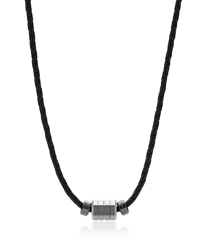 Black Leather Bead Men's Necklace - Fossil