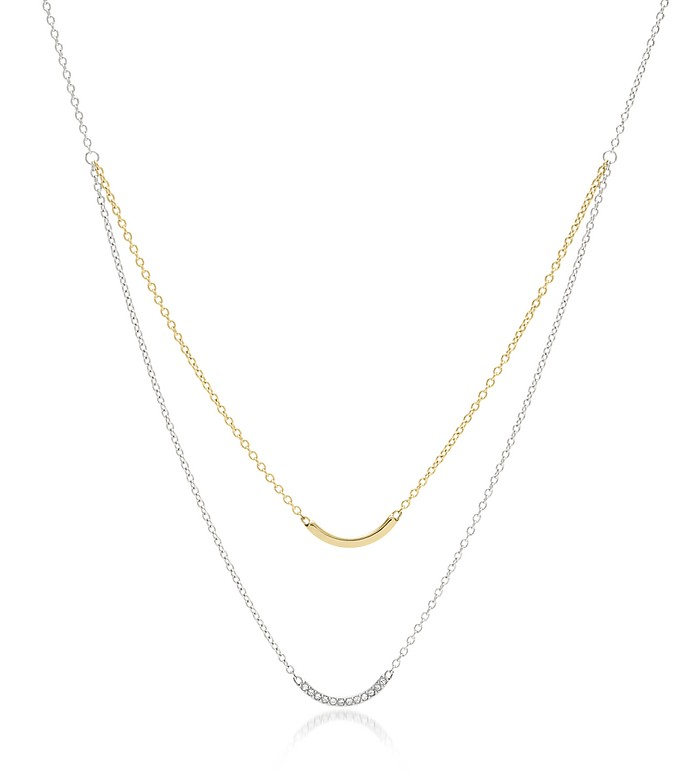 Double Arched Bar Two Tone Women's Necklace - Fossil