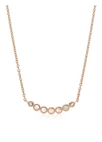 珍珠贝母玫瑰金色调项链 - Fossil