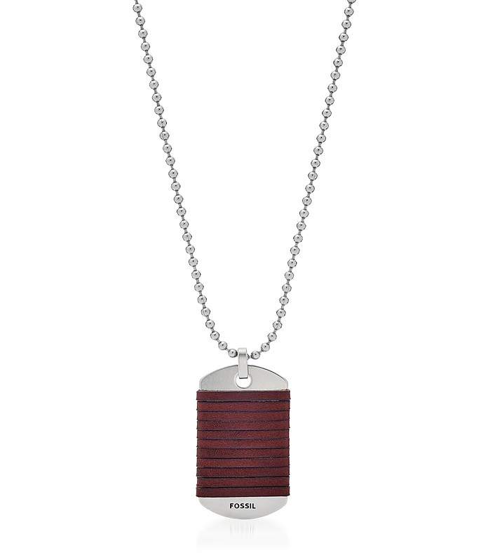 Dog Tag Leather Men's Necklace - Fossil