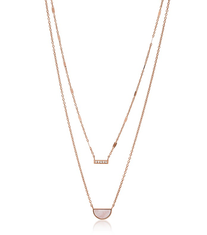 Duo Half Moon Rose Tone Necklace - Fossil
