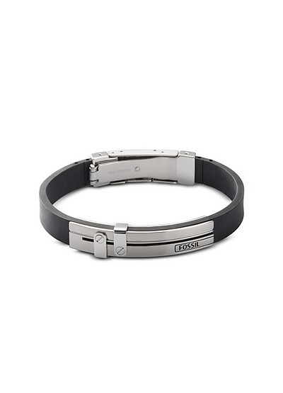 Leather and Stainless Steel Dress Men's Bracelet - Fossil