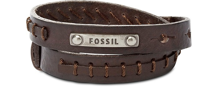 Brown Leather Wrap Vintage Casual Men's Bracelet - Fossil
