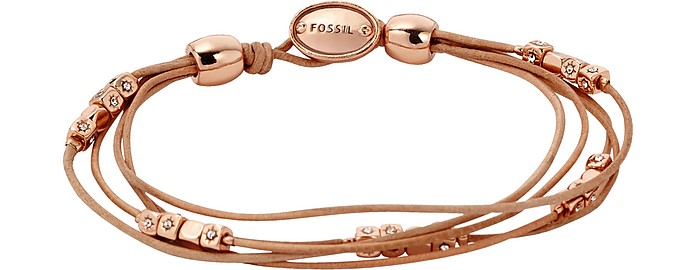 Tan Multi-Strand Wrist Wrap Women's Bracelet - Fossil