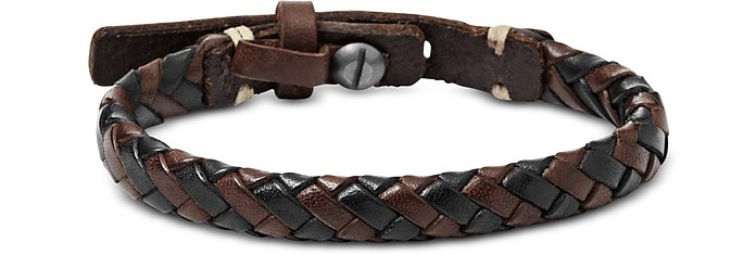 Black and Brown Braided Men's Bracelet - Fossil