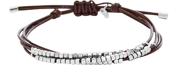 Silver Tone Dainty Rondel Slider Women's Bracelet - Fossil
