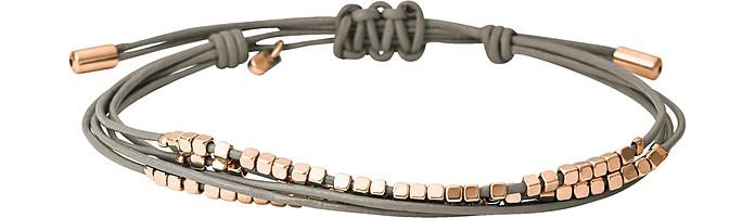 Grey Leather Dainty Rondel Slider Women's Bracelet - Fossil