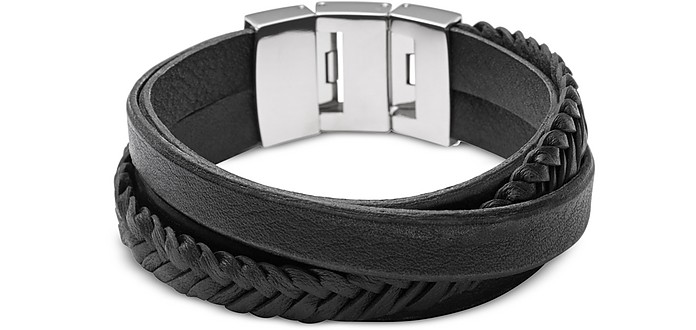 Black Braided and Smooth Leather Men's Wrap Bracelet - Fossil