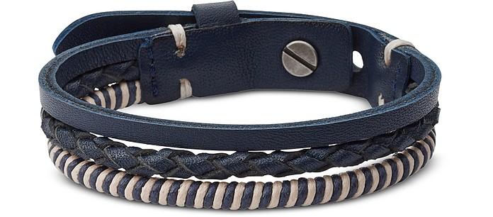 Blue and Silver Vintage Casual Multi-Strand Men's Bracelet - Fossil